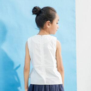 【尾品汇 5折直降】amii童装2017夏季新款女童无袖T恤绑带蝴蝶结儿童休闲纯棉薄背心