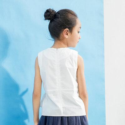 【尾品汇 5折直降】amii童装2017夏季新款女童无袖T恤绑带蝴蝶结儿童休闲纯棉薄背心每周二上新/