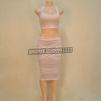 无袖款紧身显瘦连衣裙欧美无袖中长款气质绷带礼服两件套性感包臀裙