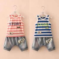 夏装新款条纹字母男童童装 宝宝儿童背心牛仔裤套装tz-1663