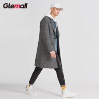潮牌GLEMALL【千鸟格中长款】绵羊毛混纺复古夹棉加厚毛呢男士大衣