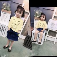 女童上衣2018春装新款韩版中小童甜美可爱卡通字母随性长袖T恤