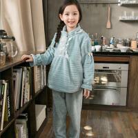 秋冬款中大童珊瑚绒厚款家居服套装秋季儿童法兰绒睡衣女童小女孩 如图