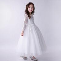 女童婚纱蓬裙走秀主持人儿童长袖礼服公主裙钢琴演出服