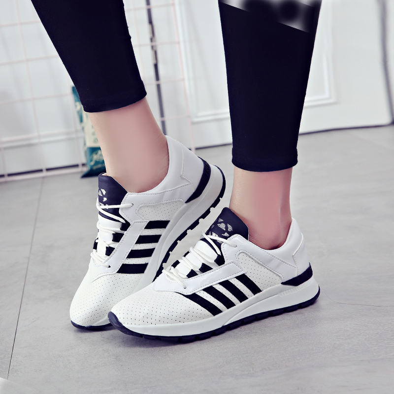 环球  运动鞋夏季女2017新款百搭韩版小白鞋学生跑步鞋厚底休闲板鞋