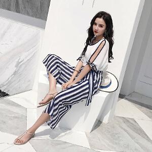 RANJU然聚 2018夏季女装新品新款chic时尚雪纺衫度假风套装条纹阔腿裤两件套