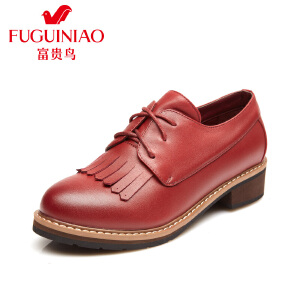 富贵鸟女鞋 时尚头层牛皮英伦风系带满口鞋 流苏女单鞋 粗跟鞋