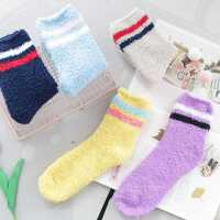 冬季袜子女韩版加厚保暖加绒冬天中筒长袜羊毛月子袜毛圈袜珊瑚绒