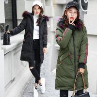 棉衣女中长款韩版2017冬季新款百搭宽松显瘦学生大毛领外套潮 B1278黑色