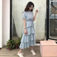 夏装女装韩版宽松气质中长款圆领收腰短袖蛋糕裙连衣裙荷叶边长裙