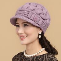 帽子女冬天韩版兔毛帽鸭舌帽保暖针织毛线帽秋冬季中老年帽子围巾
