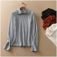 春季修身套头长袖纯色高领针织衫上衣女 20740