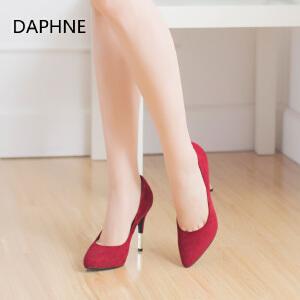 达芙妮秋季季 尖头单鞋细跟磨砂浅口高跟鞋百搭时尚休闲女鞋红色婚鞋