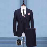 西服套装男士韩版休闲修身西装新郎结婚伴郎婚礼上衣条纹三件套
