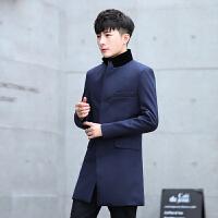 秋冬装新款风衣男中长款呢子外套韩版帅气修身加厚男士毛呢大衣潮
