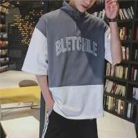 韩版夏季情侣短袖T恤拼色宽松立领套头BF原宿风学生上衣