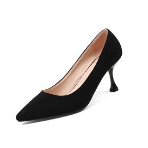 ELEISE美国艾蕾莎新品020-H06韩版磨砂绒面高跟尖头女士单鞋