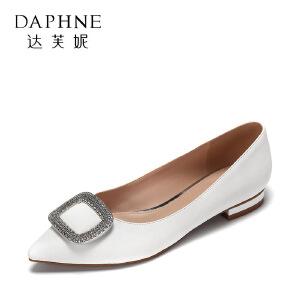 Daphne/达芙妮 杜拉拉春尖头低跟漆皮方扣水钻女鞋