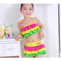 蛋糕裙彩色游泳衣少女大童����泳�b�和�可�叟�童分�w比基尼游泳衣