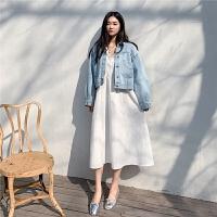 chuu长袖牛仔短外套蓝色2020年新款女装春季潮韩版短款修身ins超