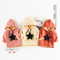 25 冬季新款婴幼儿男女童星星连帽加绒卫衣