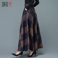韩版新款秋冬羊毛呢半身裙复古格子大摆长裙百搭高端优雅羊绒冬裙