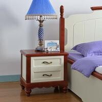 尚满 地中海卧室家具床头柜  边框实木床边储物柜 两抽屉床头斗柜