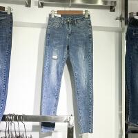 韩国ulzzang2018春装新款修身显瘦磨破洞小脚裤女铅笔牛仔长裤潮