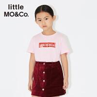 littlemoco夏季新品男女童短袖T恤光泽感胶印logo字母圆领棉T恤