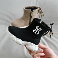 男童高帮运动棉鞋冬季儿童雪地靴加绒宝宝短靴老爹鞋