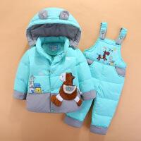 男童女童儿童羽绒服套装半岁0-1-2-3宝宝婴儿冬装套装可开裆