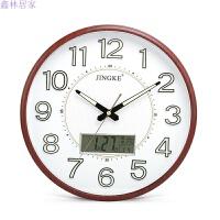 钟表挂钟客厅夜光现代简约个性电子钟装饰石英钟静音卧室挂表 木纹 液晶 E夜光 13英寸(直径33厘米)