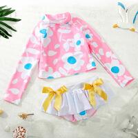 儿童泳衣女孩女童中小童分体裤裙游泳衣宝宝婴幼儿可爱泳装 粉红两件套