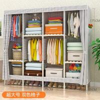 简易实木布衣柜简约双人现代组装收纳衣橱布艺小衣柜经济型非钢架T