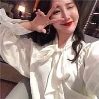 2018春装新款蝴蝶结系带甜美纯色v领荷叶边长袖衬衫女宽松上衣