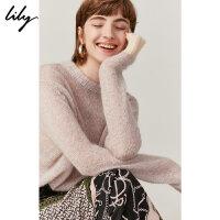 Lily2019秋新款女装时尚简约拼色宽松长袖圆领毛针织衫女8934
