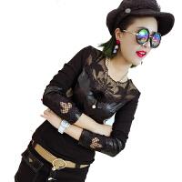 蕾丝打底衫女秋冬季新款韩版百搭长袖洋气显瘦时尚性感皮小衫