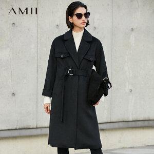 【品牌团 1件7折/2件5折】Amii[极简主义]轻奢 羊毛毛呢外套女 冬季新翻领系带加厚宽松大衣