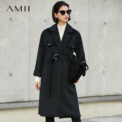 【当当19周年庆,满200减100上不封顶】Amii[极简主义]轻奢 羊毛毛呢外套女 冬季新翻领系带加厚宽松大衣.