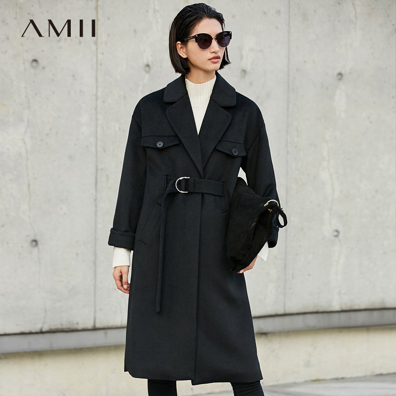 【大牌清仓 5折起】Amii[极简主义]轻奢羊毛毛呢外套女冬季新翻领系带加厚宽松大衣