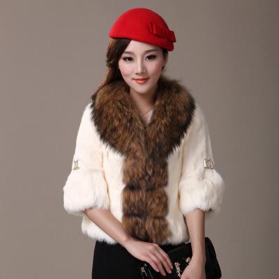 新款冬貉子毛领整皮兔毛皮草外套短款女七分袖控 一般在付款后3-90天左右发货,具体发货时间请以与客服协商的时间为准