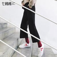 阔腿裤女2017秋冬装新款chic百搭学生韩版宽松原宿bf显瘦运动裤子