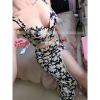 夏装性感两件套沙滩低胸吊带上衣+高开叉半身长裙夜店套装女