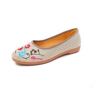 ELEISE美国艾蕾莎新品060-70118休闲棉麻刺绣平底舒适女士布洛克鞋