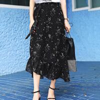 七格格雪纺半身裙春女夏新款韩版百搭碎花a字裙高腰时尚半身长裙子