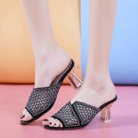 女士拖鞋外穿百搭时尚夏季新款增高粗跟镂空懒人鞋简约高跟鞋