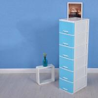 收纳柜多层 文具整理箱 塑料 办公桌面小抽屉式饰品化妆品储物盒书桌 大号加高 蓝色
