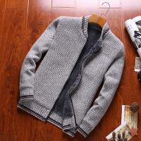 冬季加绒加厚外套潮流个性毛线衣开衫男士休闲毛衣韩版长袖针织衫