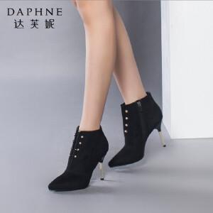 达芙妮正品女靴秋冬季时尚尖头女鞋靴子超高跟性感细跟金属短靴