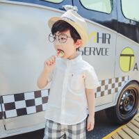 男童纯棉衬衫2018新款韩版白色百搭夏白衬衣潮3-5岁 白色